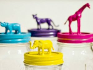 Toy Animals made into Jar Tops