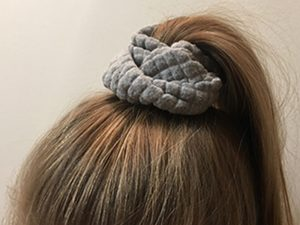 A new hair scrunchy made out of an old hoodie